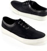 Opening Ceremony Leather-Trim Sneaker, Black