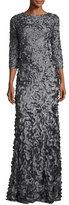 Theia 3/4-Sleeve Petal Column Gown