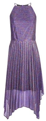 Dorothy Perkins Womens Luxe Purple Pleated Hanky Hem Dress
