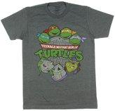 Nickelodeon Teenage Mutant Ninja Turtles Old School Men's T-Shirt (Heather Grey, Medium)