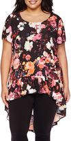 Boutique + Boutique+ Short-Sleeve High-Low Ruffled Tunic - Plus