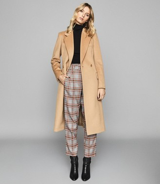 Reiss Eisha - Checked Straight Fit Trousers in Orange
