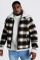 BoohoomanBoohooMAN Mens Brown Big & Tall Double Collar Check Flight Jacket, Brown