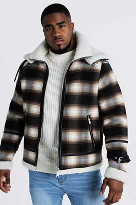 Big & Tall Double Collar Check Flight Jacket