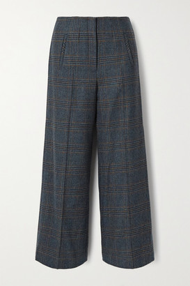Veronica Beard Dova Prince Of Wales Checked Wool Straight-leg Pants - Gray