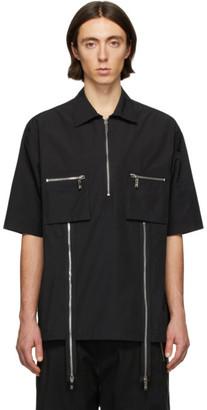 we11done Black Zip Detail Short Sleeve Shirt