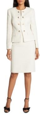 Tahari ASL Tahari Collarless Faux-Double-Breasted Skirt Suit