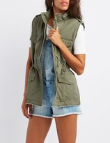 Charlotte Russe Distressed Drawstring Utility Vest