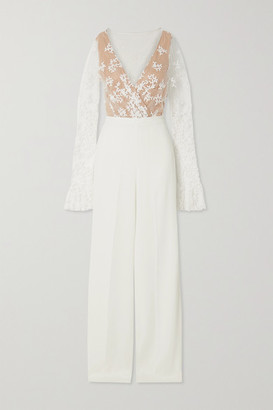 Rime Arodaky Poppy Embroidered Tulle And Crepe Jumpsuit - White