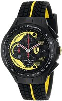 Ferrari Men's 0830078 Race Day Black and Yellow Watch with Textured Rubber Strap