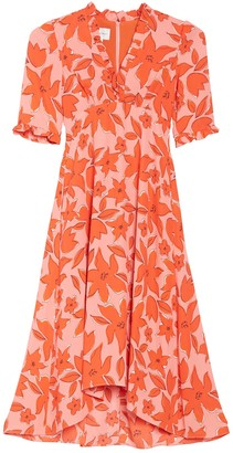 Donna Morgan Floral V-Neck High/Low Midi Dress