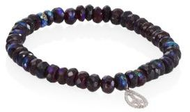 Sydney Evan Small Teardrop Peace Diamond & Mystic Garnet Beaded Bracelet