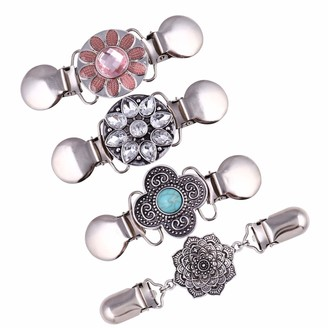 TiaoBug 4Pcs Vintage Sweater Shawl Clips Brooches Pin Retro Cardigan Collar Clip Dress Shirt Cloak Silk Scarf Clasps for Women Silver B One Size