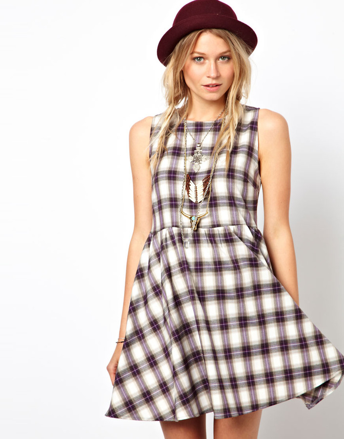 Asos Reclaimed Vintage Smock Dress in Check