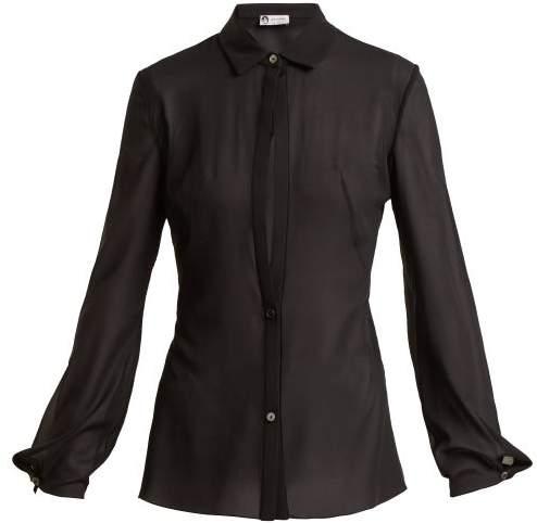 Lanvin - Sheer Silk Blend Shirt - Womens - Black