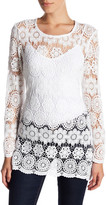 Anne Klein Crochet Long Sleeve Overlay Tunic