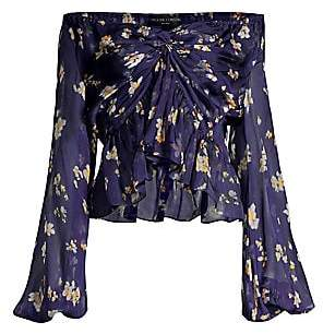 Caroline Constas Women's Onira Floral Twist Ruffle High-Low Puff-Sleeve Silk Blouse