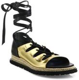 Sacai Two-Tonal Leather Espadrille Wrap Sandals