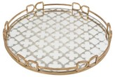 A&B Home Mirrored Decorative Tray with Quatrefoil Design - Gold