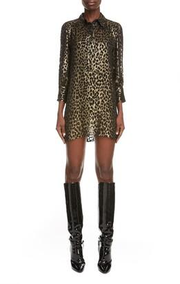 Saint Laurent Burnout Cheetah Mini Shirtdress