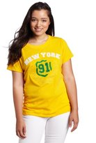 Southpole Juniors Plus-Size Varsity 91 Flocking Embroidered Applique Tee