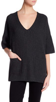 Lafayette 148 New York Ribbed V-Neck Wool Pullover