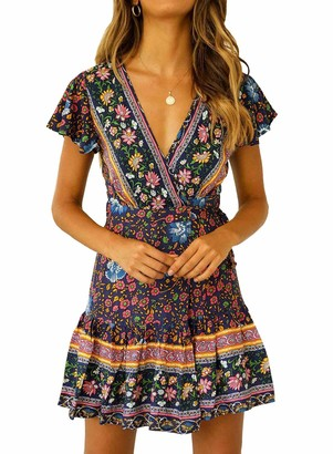 Doballa Women's V Neck Boho Floral Mini Dress Summer Short Sleeve Wrap Sash Beach Dress Navy