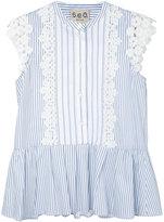 Sea floral lace striped blouse - women - Cotton - 6