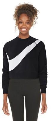 Nike Swoosh Fleece Crew Sweatshirt - Black / White