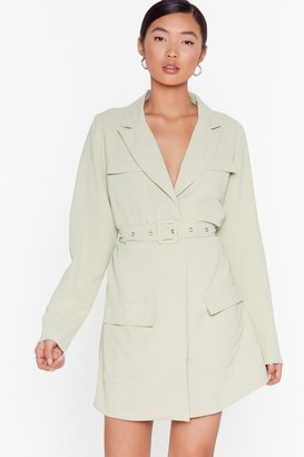 Nasty Gal Womens Pocket Off Belted Blazer Dress - Green