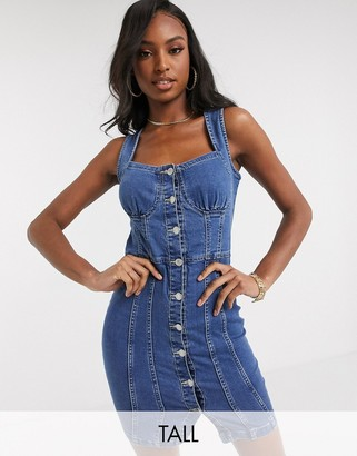 Parisian Tall denim button down mini dress in mid wash blue