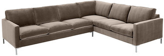 One Kings Lane Amia Right-Facing Sectional - Cafe Crypton - frame, brushed silver; upholstery, cafe