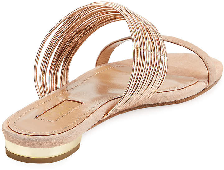 Aquazzura Metallic Two-Tone Strappy Slide Sandal