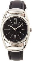 Gucci Horsebit Medium Stainless Steel Watch w/ Black Leather Strap