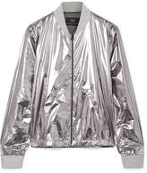 Heroine Sport Windbreaker Ribbed Jersey-trimmed Metallic Shell Bomber Jacket