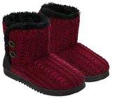 Dearfoams Women's Memory Foam Sweater Knit Indoor/Outdoor Bootie Slippers (, Red,)