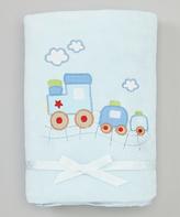 SpaSilk 30'' x 40'' Blue Train Stroller Blanket - Infant