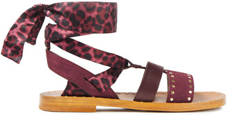 Sandro Studded Suede, Leather And Leopard-print Satin Sandals