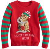 It's Our Time Its Our Time Girls 7-16 & Plus Size Embroidered Sequin Light-Up Ugly Christmas Sweater