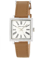 Anne Klein Women's Crystal Accented Leather Strap Watch