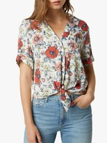 French Connection Yawa Tie Front Floral Shirt, Multi