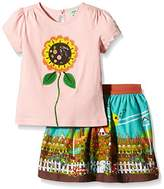 Yumi Girl's Sunflower Applique Tshirt () Floral Top