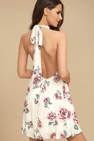 LuLu*s Just for Me Cream Floral Print Backless Swing Dress