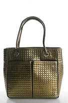 Anya Hindmarch Metallic Gold Leather Quilted Double Strap Small Tote Handbag