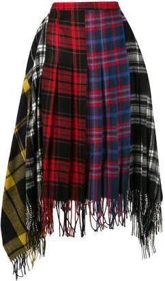 Juun.J Plaid Pattern Asymmetric Skirt