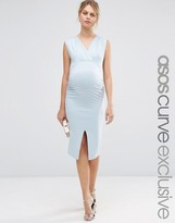 Asos Midi Bodycon Dress With Ruching And Split