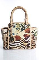 Stuart Weitzman Multi-Color Canvas Animal Print Small Pouch Tote Handbag