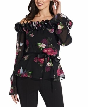 Adrianna Papell Printed Off-The-Shoulder Top