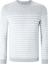 John Smedley Redfree Sea Island Cotton Striped Crew Neck Jumper, Feather Grey