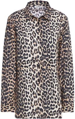 Ganni Leopard-print Cotton-poplin Shirt